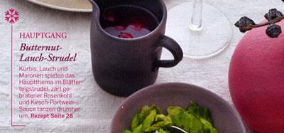Menü aus Essen und Trinken