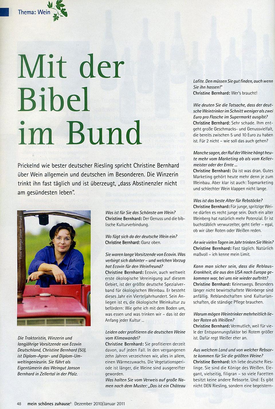 """Mit der Bibel im Bund"""" – mein schönes zuhause – Weingut Janson Bernhard"""